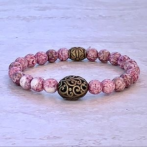 ❤️ Dusty Pink Marbled Stone Bracelet Antique …